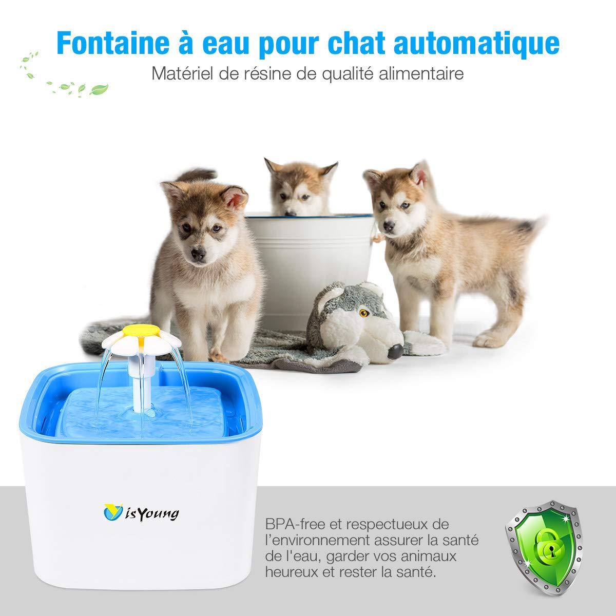 isYoung 2.5L Fontaine à Chat Chien Grande Capacité Fleur Automatique Électrique Silencieux avec 2pcs Filtre à Charbon Actif pour Les Animaux domestiques