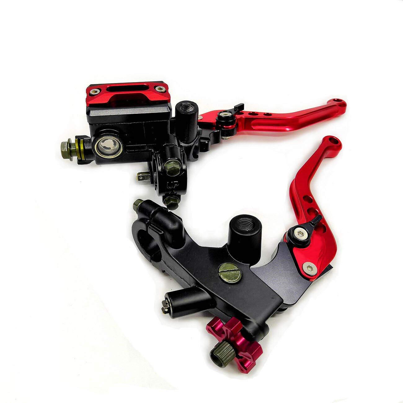 Red Universal Motorcycle 7//8 CNC Brake Clutch Master Cylinder Lever Set Reservoir