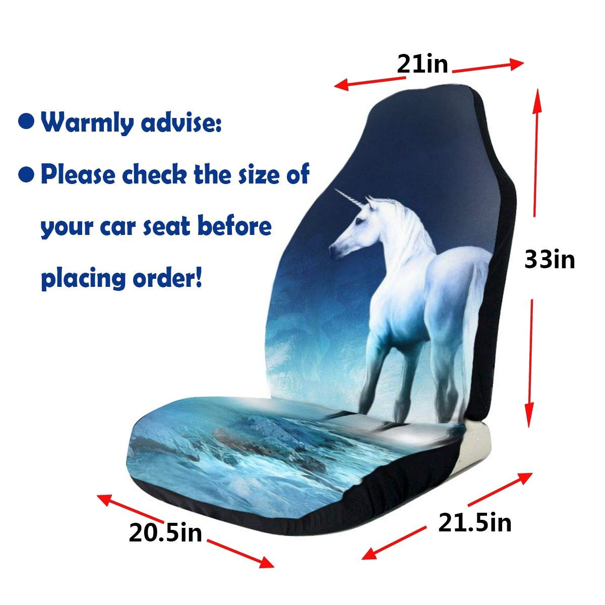 HDSTGD Car Seat Covers,Unicorn Under Blue Moonlight Design Front Seat Covers 1pc//2 Pc,Vehicle Seat Protector Car Mat Covers,Fit Most Vehicle,Cars,Sedan,Truck,SUV Or Van