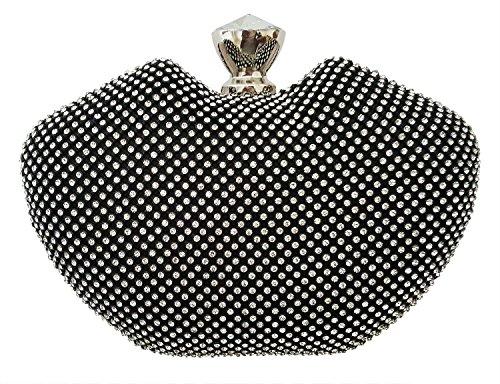 Bag Women For Box Evening Apple Mesh Clutch Crystal Black Mehrunnisa f6wq4Y