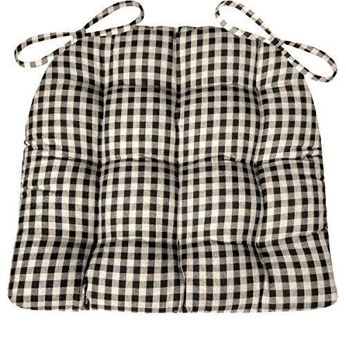 Barnett Products Dining Chair Pad with Ties - Black & White Checkers 1/4 Inch Checked Pattern - Size Standard - Latex Foam Filled Cushion, Reversible, Made in USA