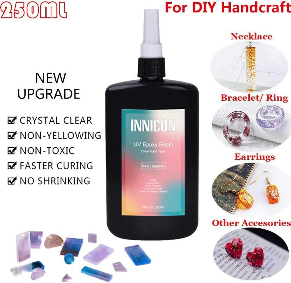 Kit de pegamento de gel de resina epoxi UV, 250 ml de cristal transparente curable, paquete de fabricación de joyas de bricolaje para colgantes Pendientes Pulseras Fabricación de artesanías