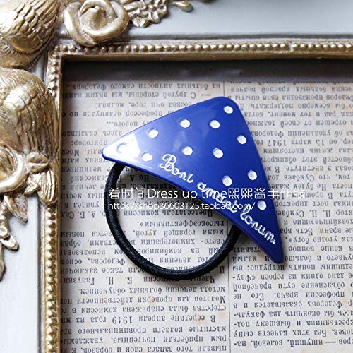 OLIJU Custom French Sauce Storm Point Literary Triangular Series Goodnight Baby Hair Band Claw (Blue Polka dot Triangle Hair Ring