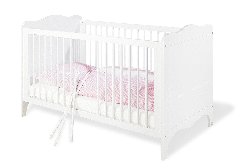 Pinolino Kinderzimmer Fleur breit 3-teilig wei/ß Edelmatt 140 x 70 cm Kinderbett breite Wickelkommode mit Wickelaufsatz und Kleiderschrank Art.-Nr. 10 34 72 B
