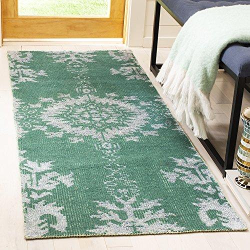 (Safavieh Stone Wash Collection STW235D Hand-Knotted Emerald Premium Wool Runner (2'6