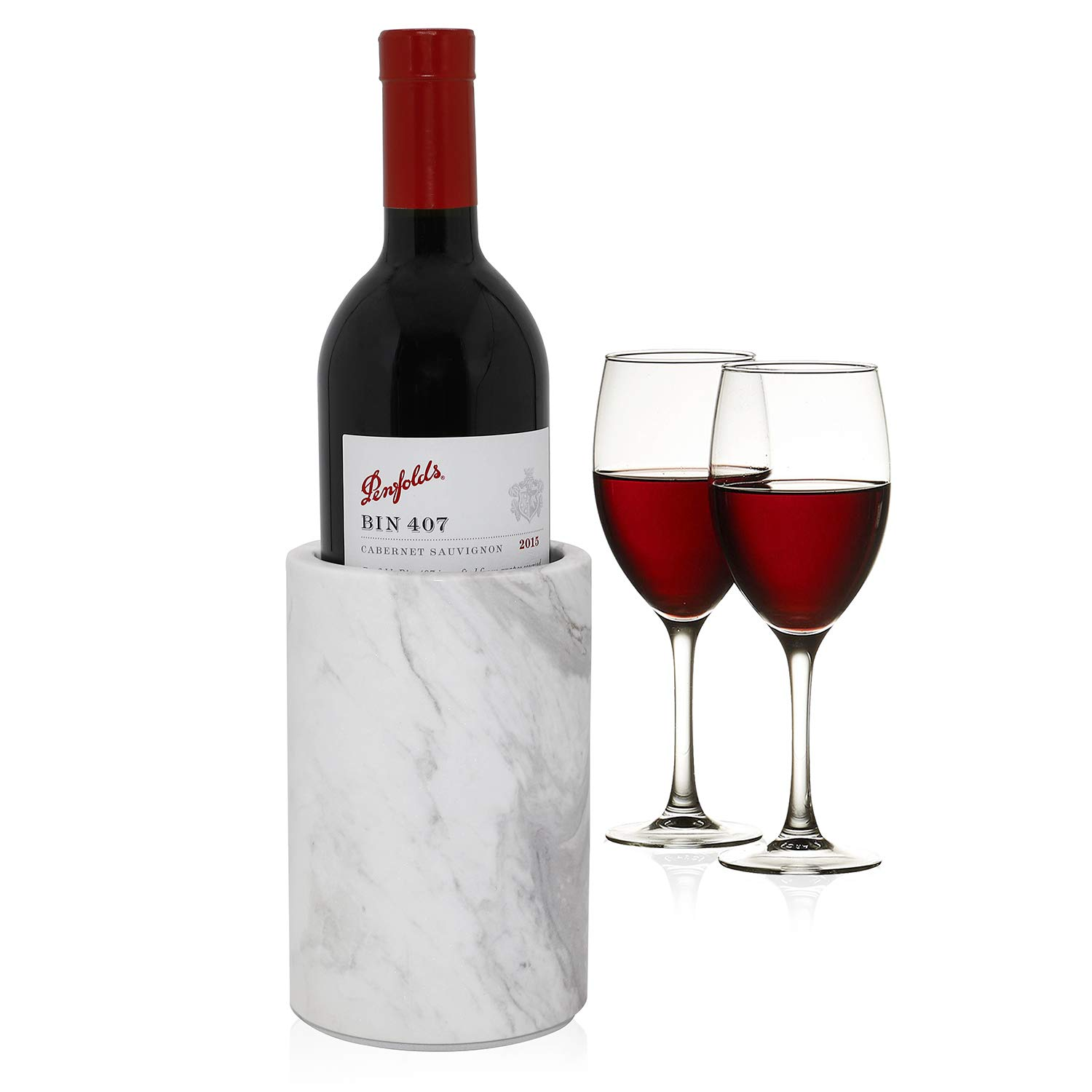 ChasBete Natural Marble Wine Chiller Bottle Holder for Wine Cooler to Keep Champagne Cold Also Use as Kitchen Utensil Holder/Decorative Vase