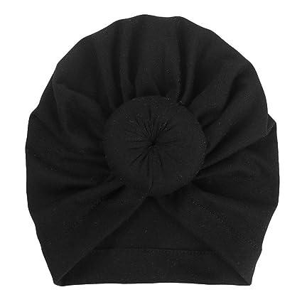 6cc68d32a52778 Simayixx Kids Baby Bohemian Head Wrap Cap Cute Cotton Turban Knot Hat (Black )
