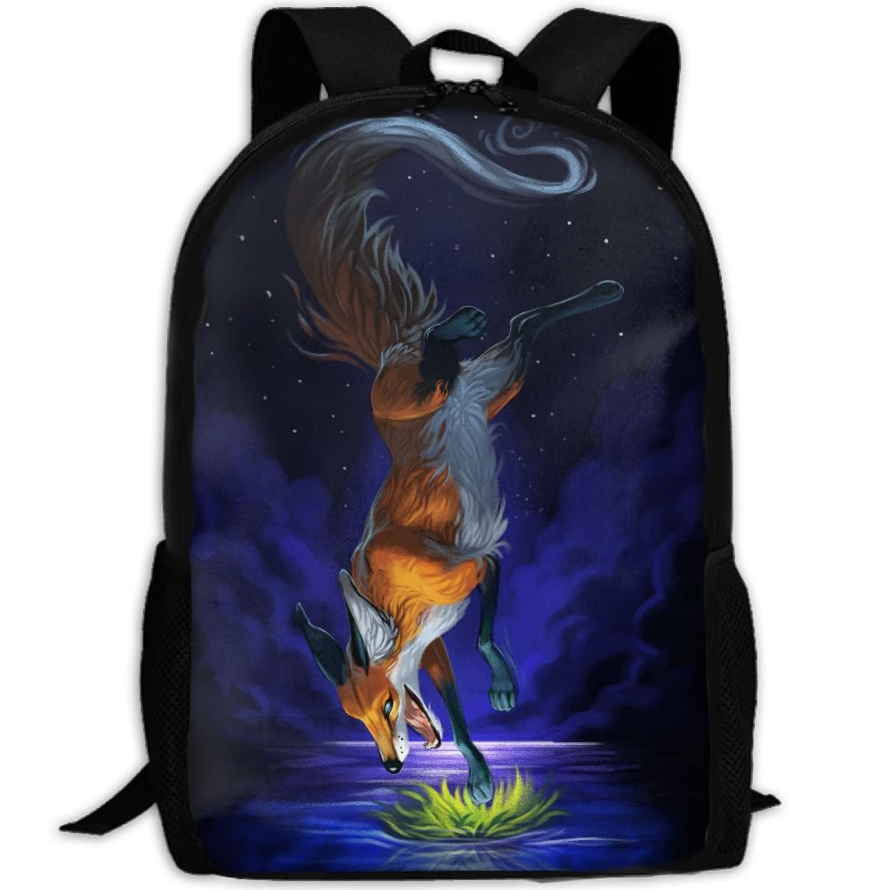 CY-STORE Foxes Painting Art Print Custom Casual School Bag Backpack Travel Daypack Gifts