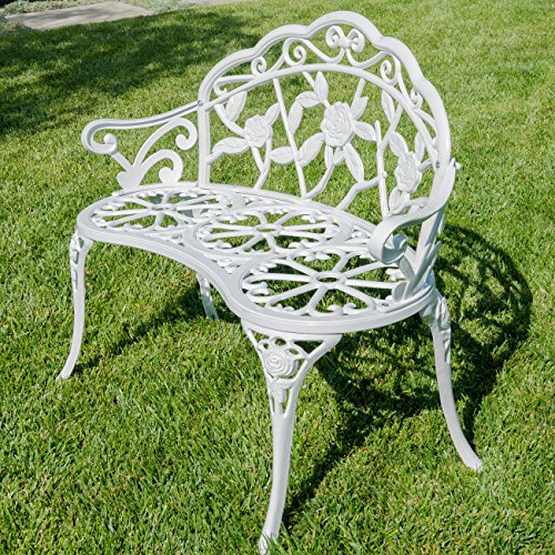 Cast Iron Antique Rose Style Design Outdoor Patio Garden Park Bench White 846183122449 Ebay