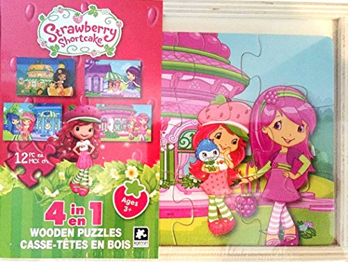 Karmin International Strawberry Shortcake 4 in 1 Wooden Puzzles, 12 pieces each puzzle