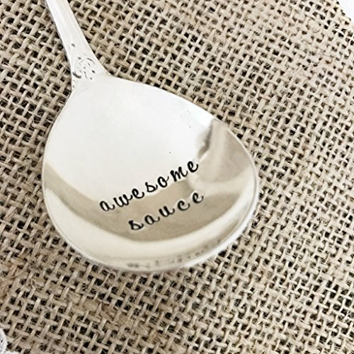 Awesome Sauce- hand stamped vintage small (Silverplate Gravy Ladle)