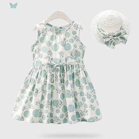 LYNNIE Vestidos Informales sin Mangas de algodón para niñas pequeñas, pequeños Vestidos de Verano Frescos y Dulces con Flores y Sombreros de Sol para niñas de 1 a 4 años,Green,100cm: Amazon.es: Hogar