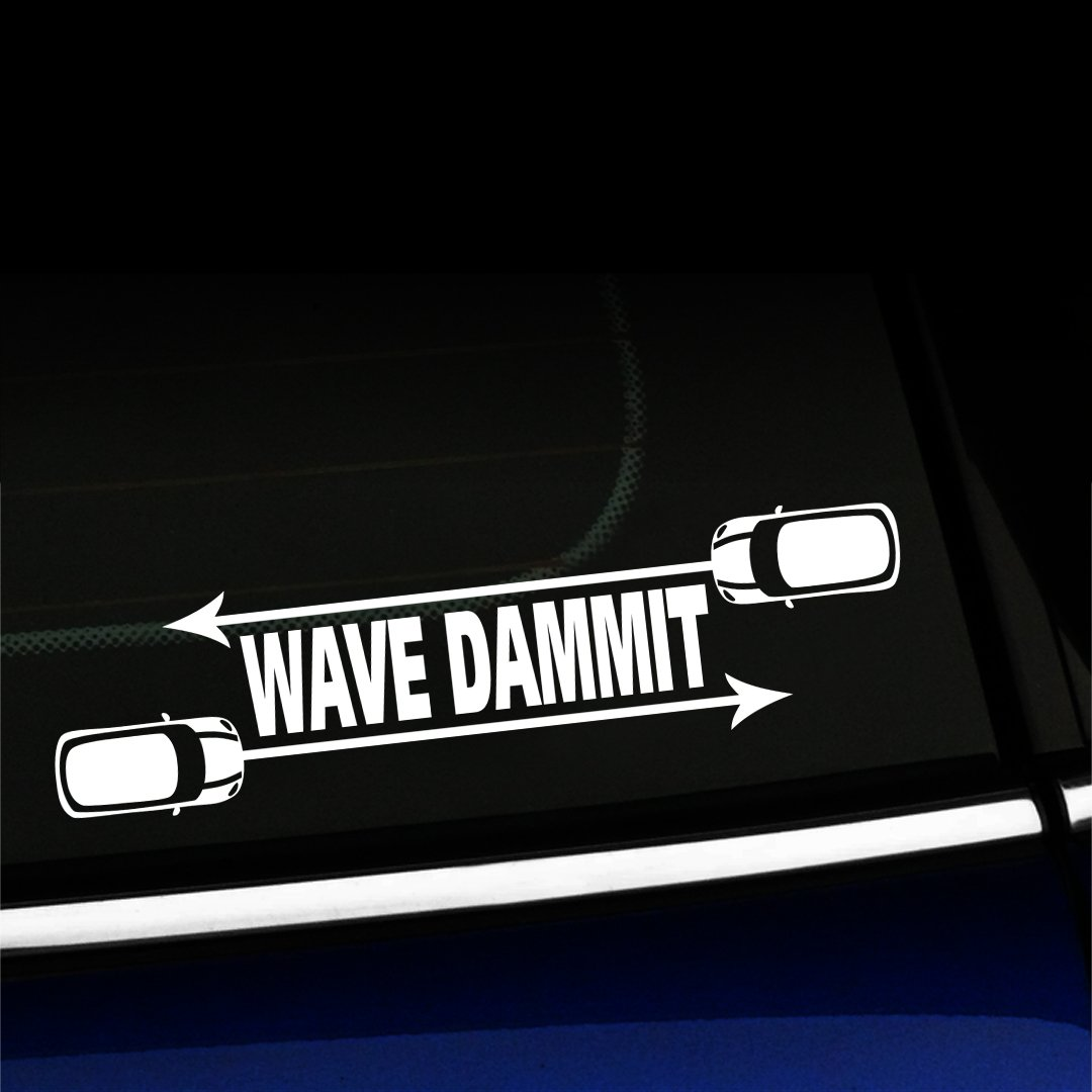 Wave Dammit - Vinyl Decal For MINI Cooper - Choose Color - [WHITE]