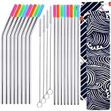 16Pcs Stainless Steel Straws Set,8.5'' Long Resuable Replacement Straws with Silicone Tips&Cleaning Brushes&Storage Bags for Yeti Tumbler,Mason Jars,Starbucks,ect
