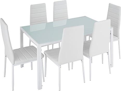 TecTake Conjunto de Mesa y 6 sillas de Comedor (Blanco   No ...
