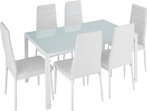 TecTake Conjunto de Mesa y 6 sillas de Comedor (Blanco | No ...