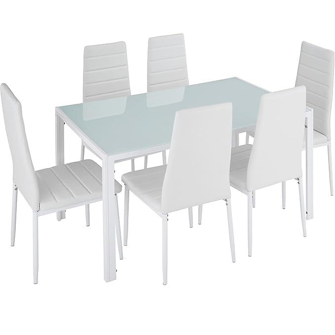 TecTake Conjunto de Mesa y 6 sillas de Comedor (Blanco | No. 402840): Amazon.es: Juguetes y juegos