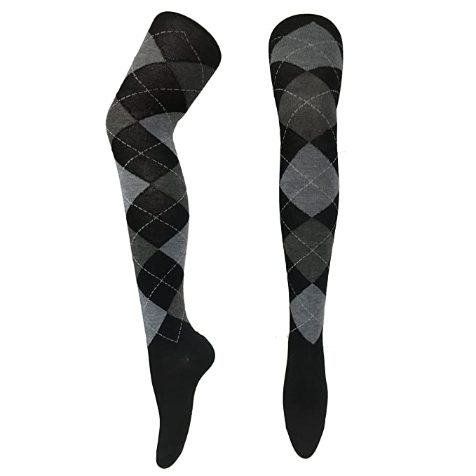 1920s Style Stockings & Socks Opaque Over Knee Socks Argyle Thigh High Sock Stockings Stocking (Black Grey Argyle) $8.99 AT vintagedancer.com