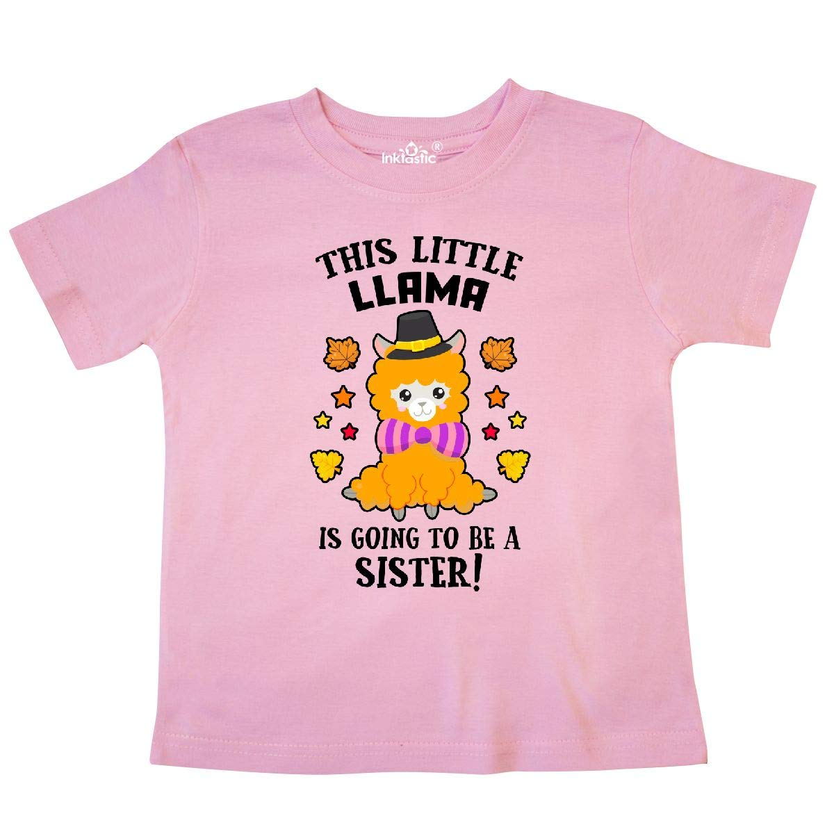 inktastic Thanksgiving This Little Llama is Going to Be a Sister Toddler T-Shirt