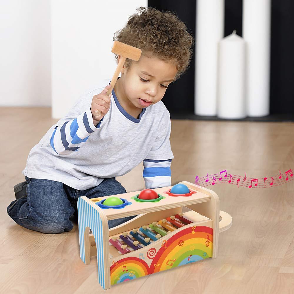 NIWAWA Xylophone en Bois,Maillet et Trois Balles en Bois Jouet Musical Jeu /Éducatif pour Enfants