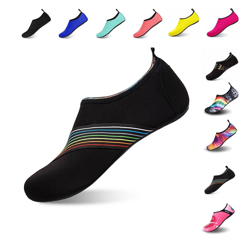 Mens Womens Water Shoes Barefoot Beach Pool Shoes Quick-Dry Aqua Yoga Socks for Surf Swim Water Sport (Black.XB, 38/39EU)