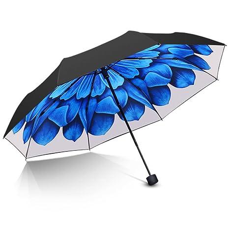 Protección Umbrella vinilo protector solar UV, 3 paraguas plegable, ligero y portátil (Color