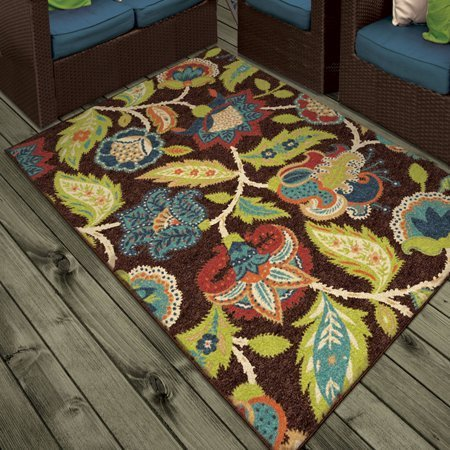 Orian Rugs Indoor/Outdoor Floral Basil Brown Area Rug (7'8