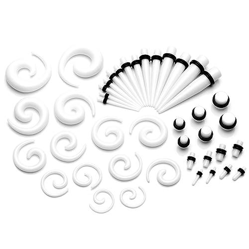 PiercingJ-21 pares, acrílico, clavos-Hebilla de sujeción túnel cónico Helix espiral Plug-Dilatador araña Flesh 2 mm-10 mm: Amazon.es: Joyería