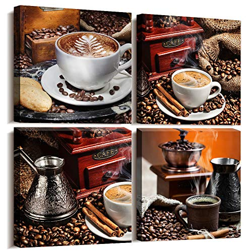 Kitchen Canvas Art Coffee Bean Coffee Cup Canvas Prints Wall Art Decor Restaurant wall art Framed Ready to Hang - 4 Panels Modern Artwork Painting Contemporary Pictures for Dining Home Decoration (Coffee Kitchen Art)