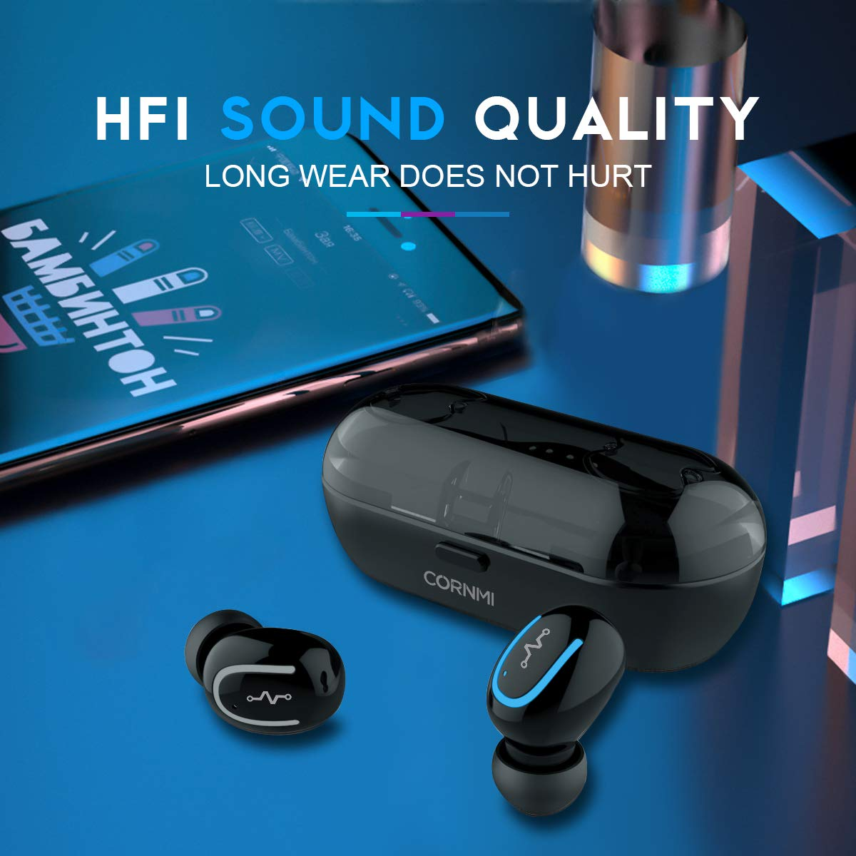 True Wireless Earbuds,Wireless Headphones,Stereo Bluetooth 5.0 Earphones for Running,Mini Bluetooth Earbuds with Microphone, Tws Sports Headsets for iPhone Android with Charging Case,Tech Gift for Men