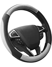 SEG Direct Black and Gray Microfiber Leather Auto Car Steering Wheel Cover Universally Fits 37cm-39cm