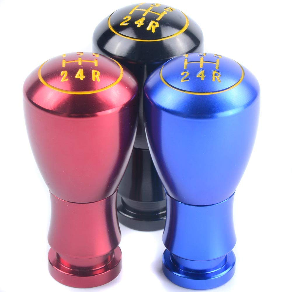 Semoss 5 Speed Manual Aluminum Gear Shift Knob Universal Shifter Stick Lever with 3 Adapters 8mm 10mm 12mm for Most Cars Black