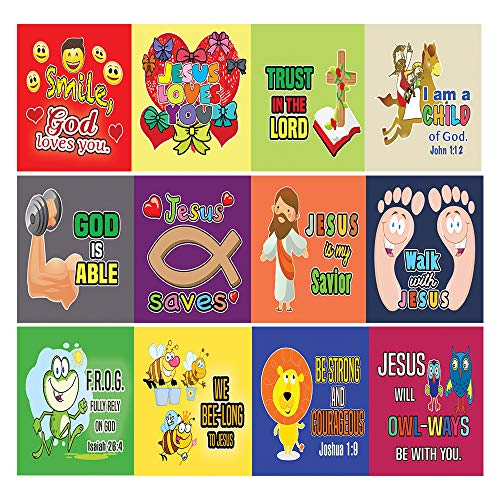 Christian Stickers for Kids Boys Girls (10 Sheets) Affirmation Encouraging Bible Verses - God Jesus Loves You - Stocking Stuffers Party Favors Sunday School Rewards -