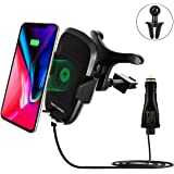 Fast Wireless Charger Car Mount Holder, Fast Charge Stand For Samsung S9 Plus/S9/Note8/S8/S8 Plus/S7/S7 edge/Note5/S6 edge, Standard Charge for iPhone 8/X, Android Phone and Qi-Enabled Devices