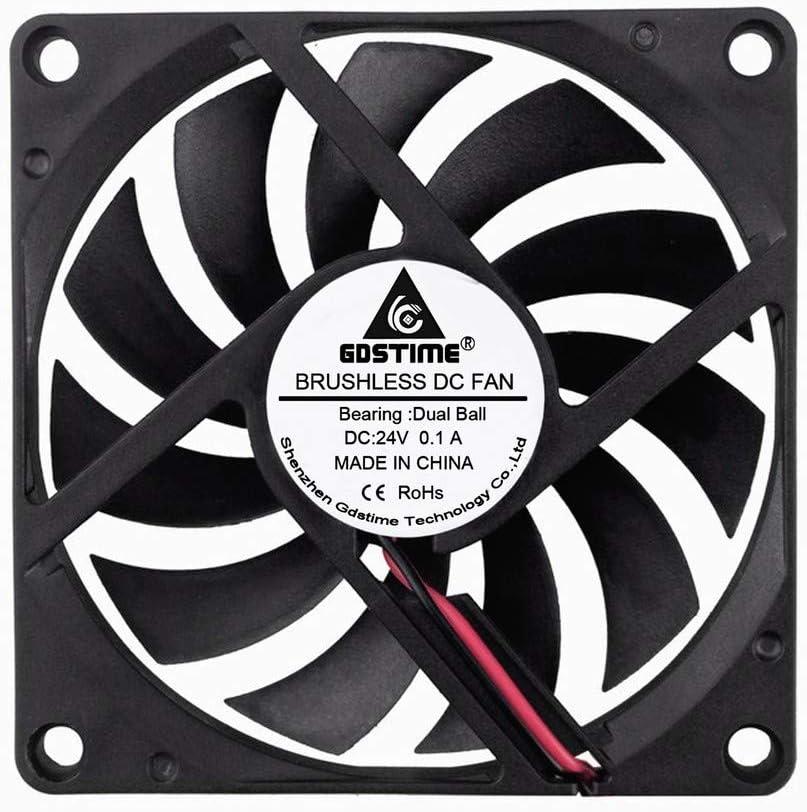 GDSTIME 80mm Fan 8010B 24V DC Brushless Computer Cooling Fan Dual Ball Bearings