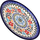 Polish Pottery Ceramika Boleslawiec,  1102/238, Dessert Plate 19, 7 1/2 Inches in Diameter, Royal Blue Patterns with Red Cornflower and Blue Butterflies Motif