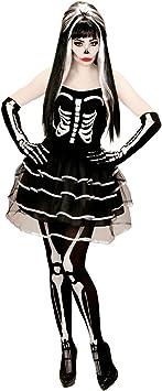 Amakando Atuendo Huesos Halloween Disfraz Esqueleto Mujer XL ...