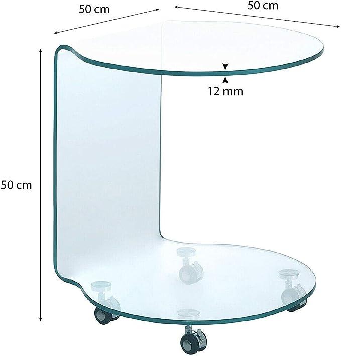 Arreditaly Tavolino Basso da Salotto Salone caff/è Rettangolare in Vetro Temperato e Curvato Luxury Z-26 Design Curvo Moderno Ed Elegante 110 x 60 x 38 Cm