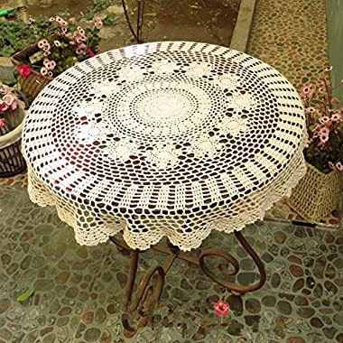 Ustide Rustic Cotton Table Cloth Round Handmade Crochet Tablecloths Beige Table Covers Round Crochet Table Decoration for Weddings Designer Table Cloth for Coffee Table 31inches