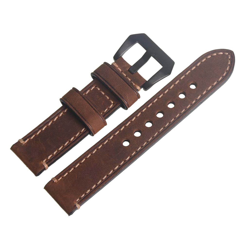 ブラウンヴィンテージGenuineレザー20 mm交換バンド腕時計時計ストラップバンドwithブラックバックル  B01HZCXBWE