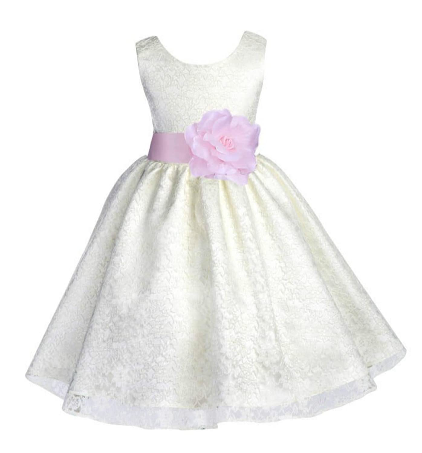 Wedding Baby Ivory Floral Lace Overlay Flower girl dress Gown 163s