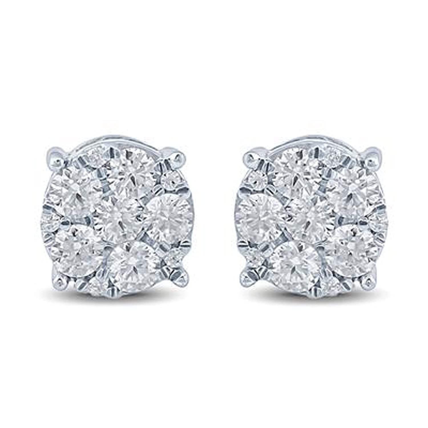 2heart 3/4 Carat TW Round Cut D/VVS1 Diamond Cluster Earrings 14K White Gold Plated
