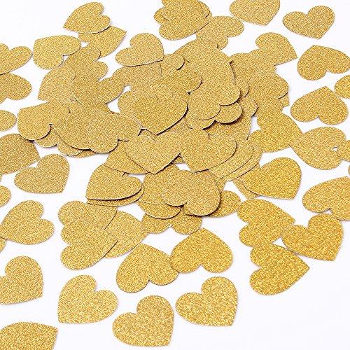 MOWO Glitter Heart Paper Confetti Wedding Party Decor and Table Decor 1.2 in Diameter (Gold glitte,200pc)
