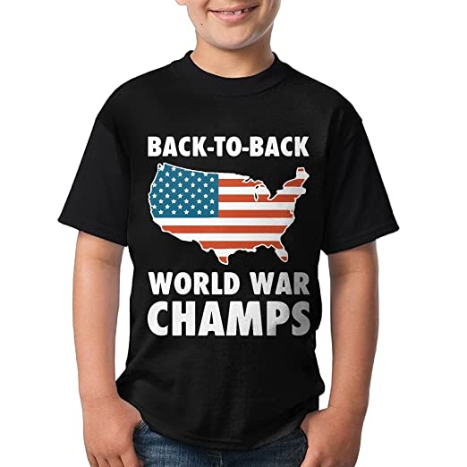 5f59cb5b Amazon.com: Gift for Big Kid - Back to Back World War Champs Short Sleeve  Crew-Neck T-Shirt: Clothing