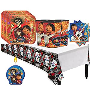 """Disney Pixar Coco Birthday Party Supplies Party Pack for 16 guests (Plates, Cups, Napkins, Tablecover, Bonus Candle) , Exclusive Value Bundle of """"Another Dream"""""""