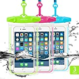 Universal Waterproof Case, FITFORT Waterproof Phone Pouch Dry Bag Compatible Phone X 8 7 6 Plus Galaxy S8 S7 Note 4 3 Up to 5.5Inches (Blue+Green+Rose Red)-3 Pack