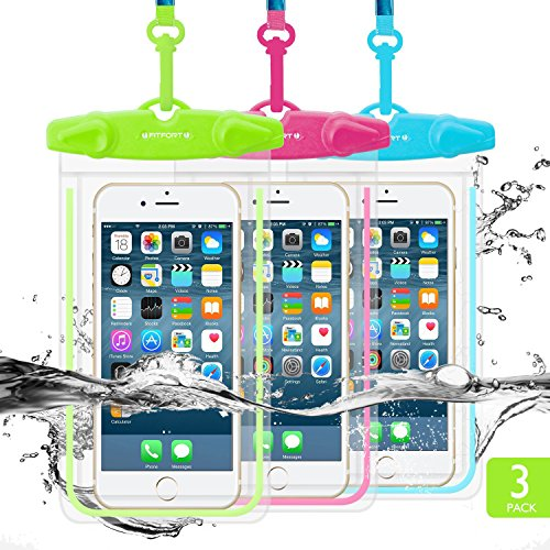 Price comparison product image Universal Waterproof Case, FITFORT Waterproof Phone Pouch Dry Bag for iPhone 8 7 6 Plus Galaxy S8 S7 S6 Note 4 3 Up to 5.5Inches (Blue+Green+Rose Red)-3 Pack