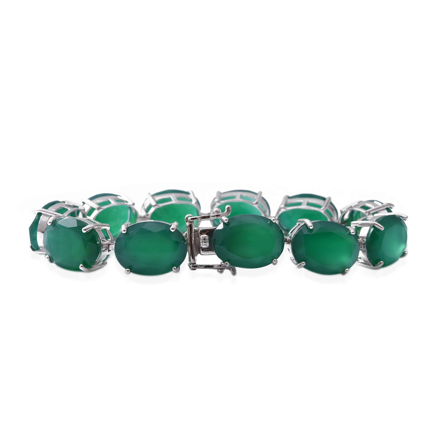 Silver Earrings Bracelet Set 925 Sterling Silver Oval Green Onyx Jewelry Gift for Women Size 7.5 Cttw 84.2