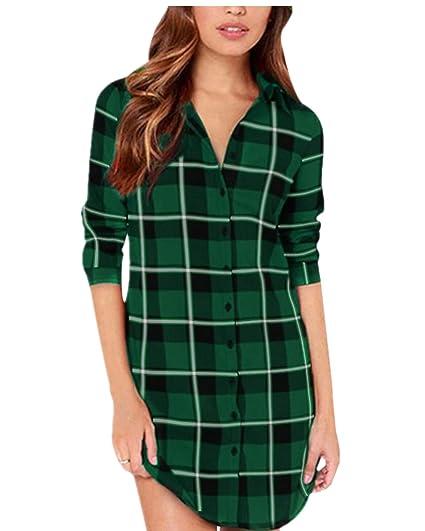 ZANZEA Damen Kariert Langarm Oversize Hemd Button Down Longshirt Cardigan Top