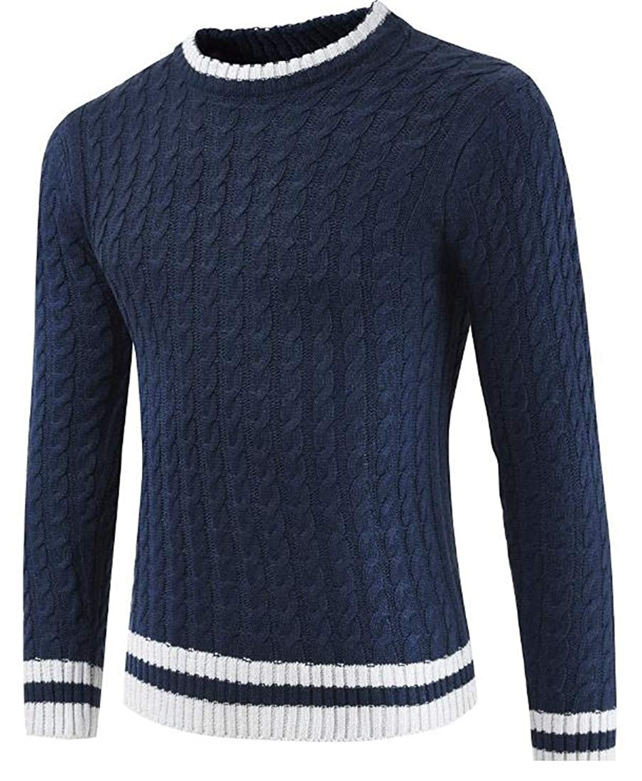 Lutratocro Mens Woven Knitted Loose Pullover Striped Long Sleeve Jumper Sweaters